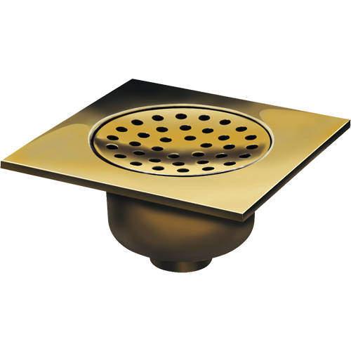 VDB Shower Drains Shower Drain 200x200mm (Polished Brass).