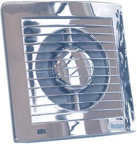 Vectaire Slim Line Axial Standard Extractor Fan. 100mm (Chrome).