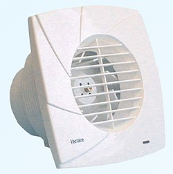 Vectaire Centrifugal High Pressure Extractor Fan With Timer. 100mm (White).
