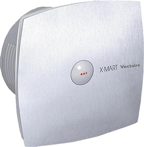Vectaire X-Mart Auto Extractor Fan, Humidistat, Timer. 100mm (Steel Finish).