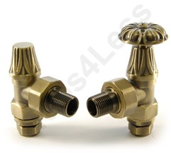 Crown Radiator Valves Abbey Manual & LS Angled Radiator Valves (Old Brass).