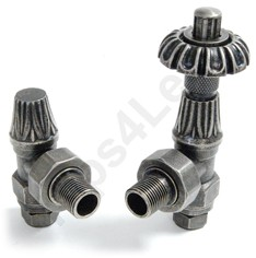 Crown Radiator Valves Thermostatic Angled Radiator Valves (Pewter).