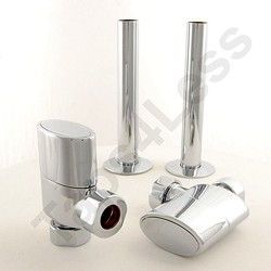 Crown Radiator Valves Ellipse Angled Radiator Valves & Sleeves (Chrome).