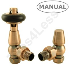 Crown Radiator Valves Eton Thermostatic Angled Radiator Valves (A Copper).