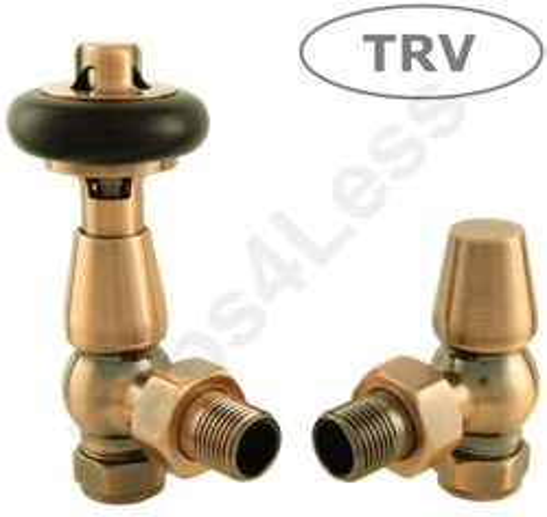 Crown Radiator Valves Thermostatic Angled Radiator Valves (A Copper).