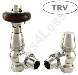 Crown Radiator Valves Thermostatic Angled Radiator Valves (Chrome).