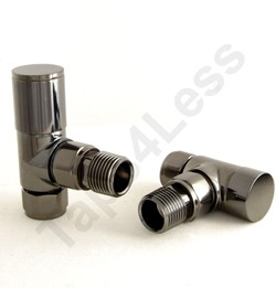 Crown Radiator Valves Milan Angled Radiator Valves (Black Nickel).