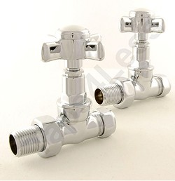 Crown Radiator Valves Westminster Straight Radiator Valves (Chrome).