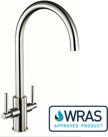 Additional image for Curvato dual Lever Kitchen Tap (Brushed Steel).