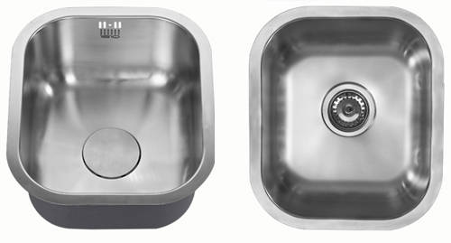 Additional image for Undermounted Kitchen Sink With Plumbing Kit (Satin, 340x401mm).