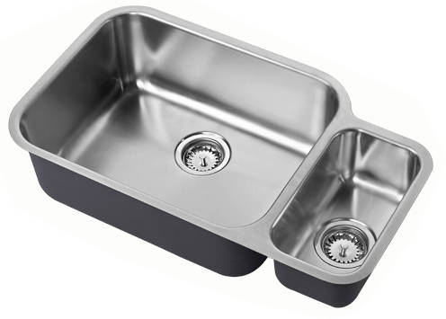 Additional image for Undermounted Two Bowl Kitchen Sink With Kit (Satin, 785x456mm).