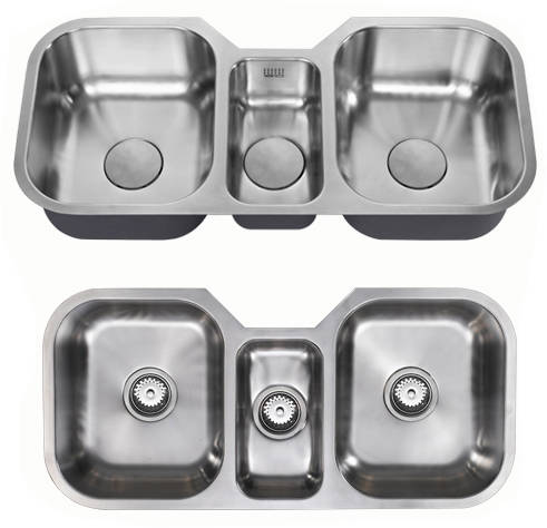 Additional image for Undermounted Triple Bowl Kitchen Sink With Kit (Satin, 960x451).