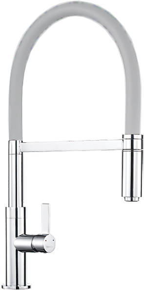 Additional image for Spirale Single Lever Rinser Kitchen Tap (Chrome & Light Grey).