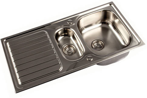 Additional image for Reversible Inset Kitchen Sink With Two bowls (Satin, 1000x500).