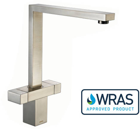 Additional image for Vesare Square Dual Control Kitchen Tap (Brushed Steel).