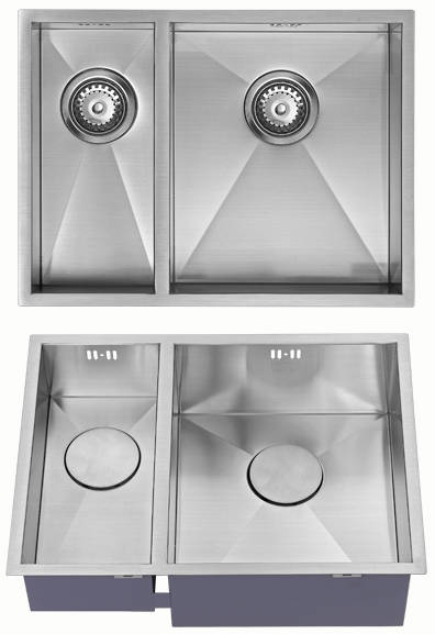 Additional image for Undermounted Two Bowl Kitchen Sink With Kit (Satin, 545x400mm).