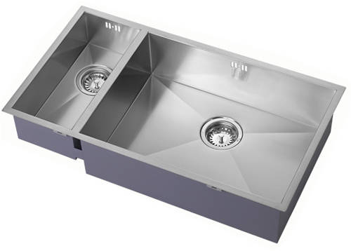 Additional image for Undermounted Two Bowl Kitchen Sink With Kit (Satin, 755x400mm).