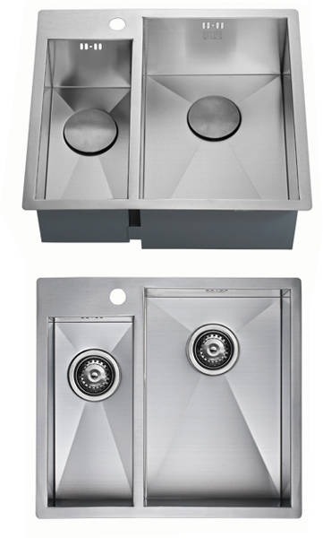 Additional image for Inset Two Bowl Kitchen Sink With Plumbing Kit (Satin, 565x510mm).