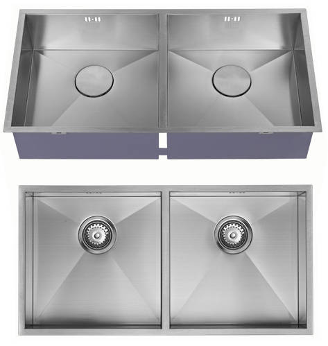 Additional image for Undermounted Two Bowl Kitchen Sink With Kit (Satin, 825x400mm).