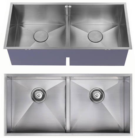 Additional image for Undermounted Deep Two Bowl Kitchen Sink With Kit (Satin, 860x400).