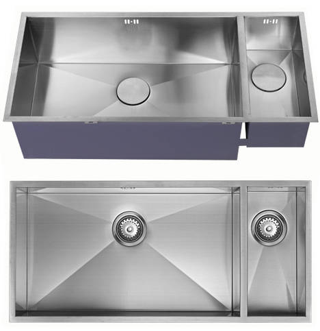 Additional image for Undermounted Two Bowl Kitchen Sink With Kit (Satin, 905x400mm).