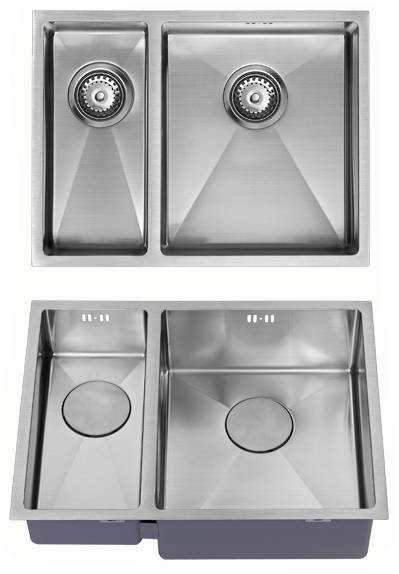 Additional image for Undermounted Two Bowl Kitchen Sink With Kit (Satin, 585x440mm).