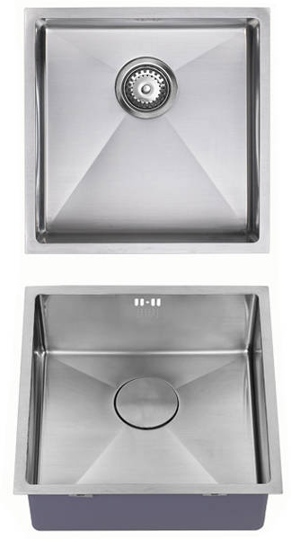 Additional image for Undermounted Kitchen Sink With Plumbing Kit (Satin, 400x400mm).