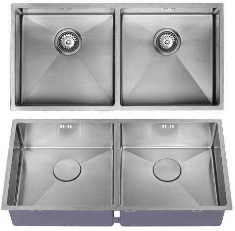 Additional image for Undermounted Two Bowl Kitchen Sink With Kit (Satin, 865x440mm).