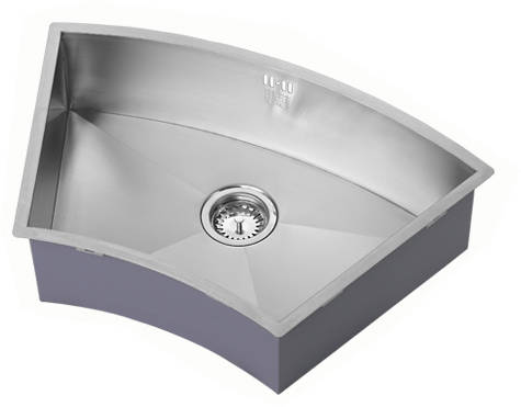 Additional image for Undermounted Curved Kitchen Sink With Kit (Satin, 727x455mm).
