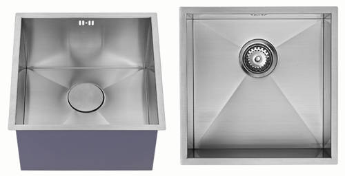 Additional image for Undermounted Deep Kitchen Sink With Kit (Satin, 400x400mm).