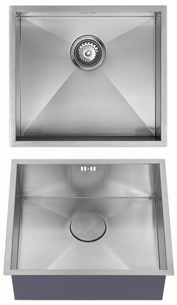 Additional image for Undermounted Kitchen Sink With Plumbing Kit (Satin, 450x400mm).