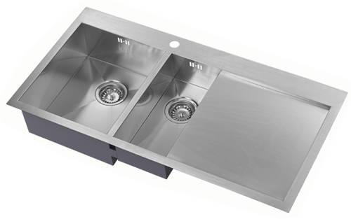 Additional image for Overmounted Kitchen Sink, Right Hand Drainer (Satin, 1000x510).