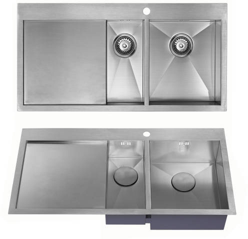 Additional image for Overmounted Kitchen Sink, Left Hand Drainer (Satin, 1000x510).