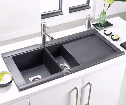 Geo 1 5 bowl black posite kitchen sink right handed