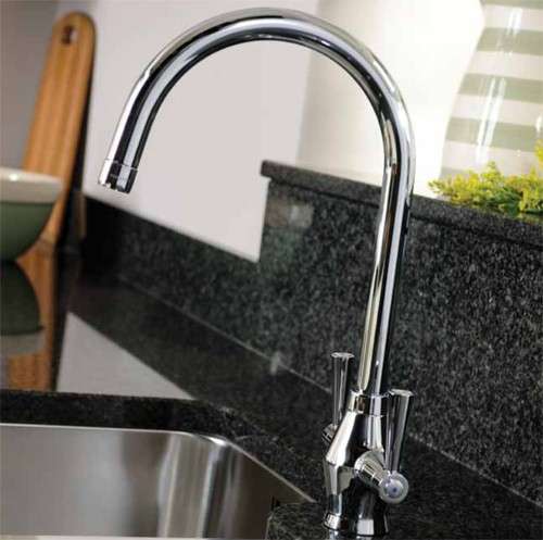 Additional image for Astral Dual Lever Kitchen Tap With Swivel Spout (Chrome).