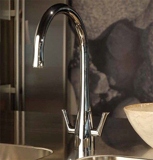 Additional image for Fluid Twin Lever Kitchen Tap With Swivel Spout (Chrome).