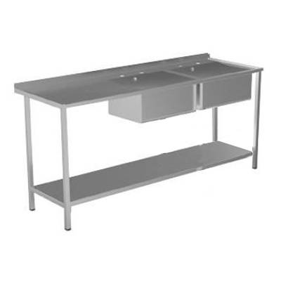 Additional image for Catering Sink, LH Drainer, 2 Bowls & Legs 1800mm (S Steel).