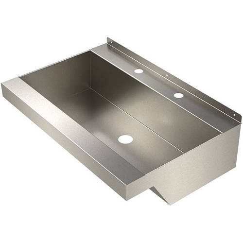Additional image for Wall Mounted Wash Trough Basin (Stainless Steel).