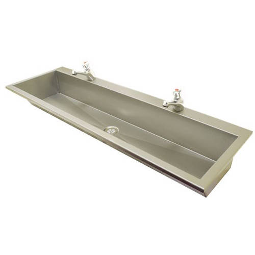 Additional image for Inset Wash Trough With Tap Ledge 1450mm (Stainless Steel).