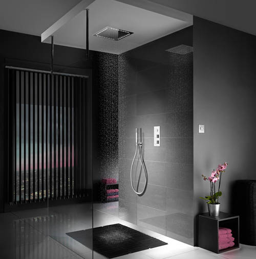 Additional image for Digital Shower Pack 66 (Chrome & White Piazza Handles, HP).