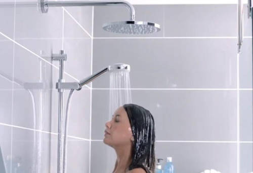 Additional image for Smart Shower With 2 Outlets, Remote & Grey Accent (Gravity).