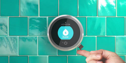 Additional image for Smart Shower With 2 Outlets, Remote & Blue Accent (Gravity).