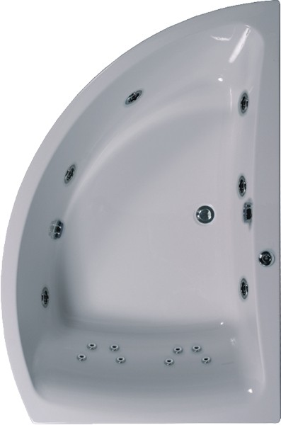 Additional image for Corner Whirlpool Bath. 14 Jets. Right Handed. 1500x1000mm.