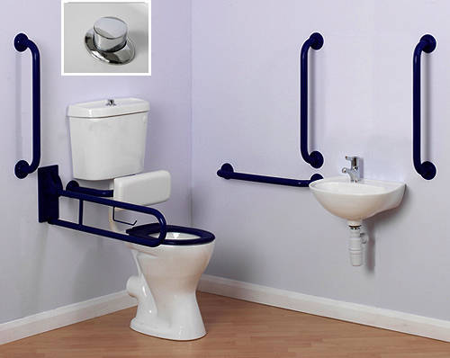 Additional image for Doc M Low Level Toilet Pack With Push Button Flush & Blue Rails.