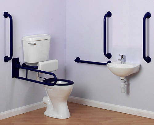 Additional image for Doc M Low Level Toilet Pack With Lever Flush & Blue Rails.