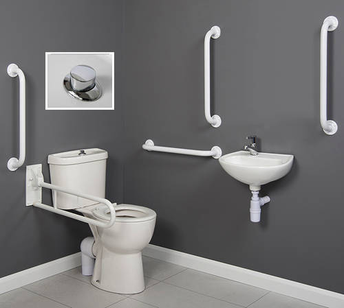 Additional image for Doc M Close Coupled Pack With Push Button Flush & White Rails.