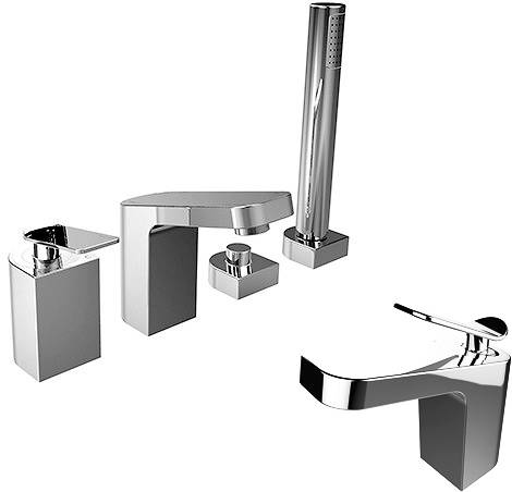 Additional Image For Mono Basin 4 Hole Bath Shower Mixer Tap Pack Chrome
