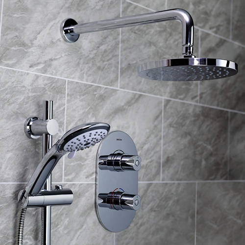 Additional image for Shower Pack With Arm, Round Head & Slide Rail Kit (Chrome).