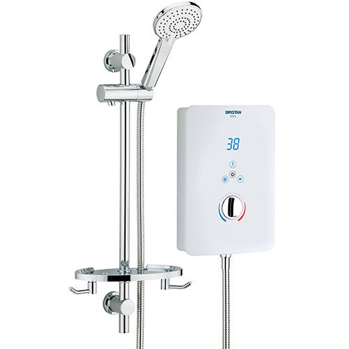 Additional image for Electric Shower With Digital Display 8.5kW (Gloss White).