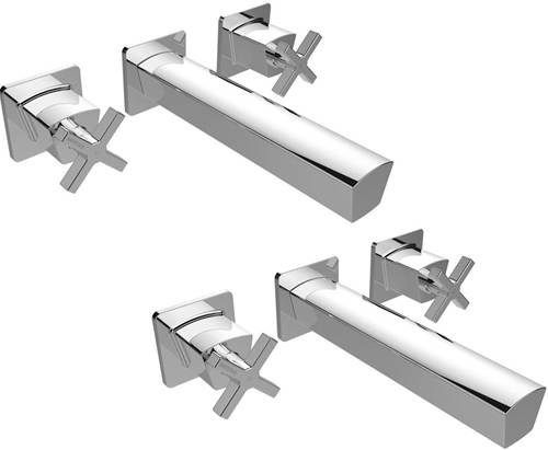 Additional image for Wall Mounted Basin & Bath Filler Tap Pack (Chrome).